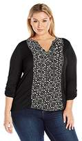 Lucky Brand Women's Plus Size Printed Woven Mix Henley Top
