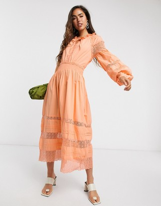 Y.A.S Cantalina tiered smock dress in pale orange