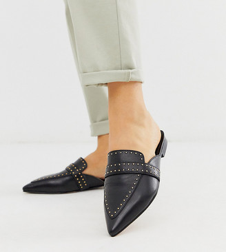 ASOS DESIGN Wide Fit Maximum studded leather pointed mule in black