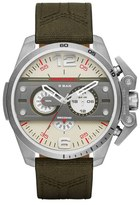 Diesel 'Ironside' Chronograph Leather & Canvas Strap Watch, 55mm