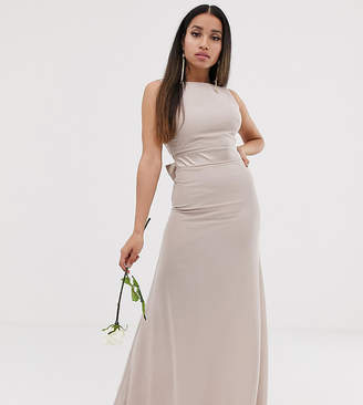 MinkPink Tfnc Petite TFNC Petite bridesmaid exclusive sateen bow back maxi in mink-Pink