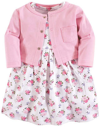 Luvable Friends Baby Vision 0 Months - 5T Baby Girl Dress and Cardigan, 2-Piece Set