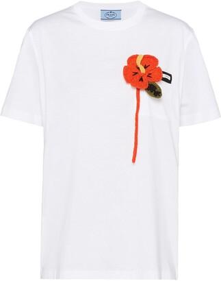 Prada floral applique T-shirt