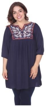 White Mark Women's Plus Size Marcella Embroidered Dress
