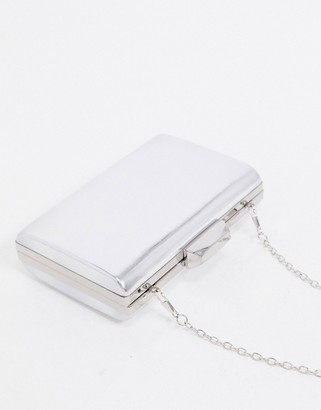 True Decadence mirrored clutch bag with detachable strap in silver