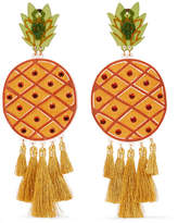 Mercedes Salazar Fiesta Piñas Tasseled Gold-plated, Resin And Crystal Clip Earrings - Orange