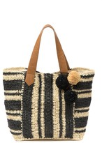 Melrose and Market Striped Straw Tote Bag