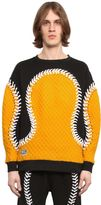 Kokon To Zai Baseball Seams Cotton Sweatshirt W/ Knit