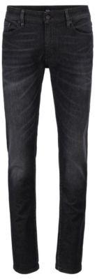 HUGO BOSS Skinny Fit Jeans In Super Stretch Black Denim - Dark Grey