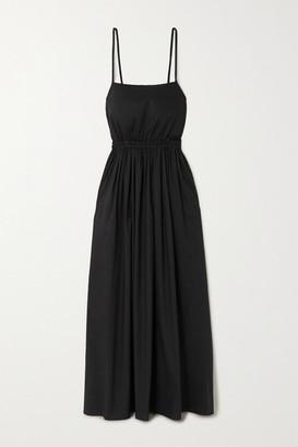 Matteau - + Net Sustain Gathered Cotton-poplin Maxi Dress - Black
