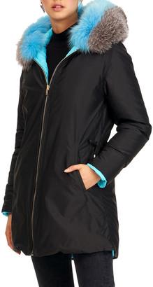 Gorski Reversible Quilted Puffer Apres-Ski Parka Jacket W/ Detachable Fox Fur Hood Trim