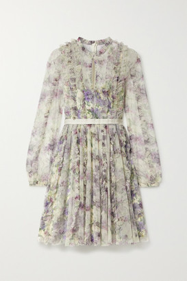 Needle & Thread Lilacs Garland Satin-trimmed Ruffled Floral-print Tulle Mini Dress - Ivory