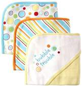 Luvable Friends 3 Pack Embroidered Sayings Hooded Towels