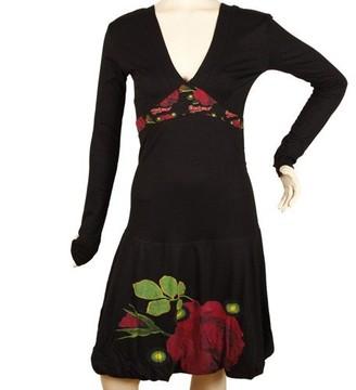 Desigual Carry A-Line Women's Dress Black Size 14