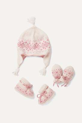 Johnstons of Elgin Kids - Infant Fair Isle Cashmere Booties, Hat And Mittens Set - Pink