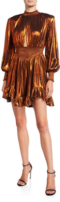retrofete Melody Metallic Lame Bishop-Sleeve Ruffle-Hem Mini Dress