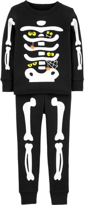 Carter's Toddler Halloween Skeleton Glow-in-the-Dark Top & Bottoms Pajama Set