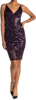 Eliza J V-Neck Sleeveless Sequin Sheath Dress
