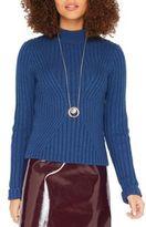 Miss Selfridge Mock-Turtleneck Ribbed Sweater