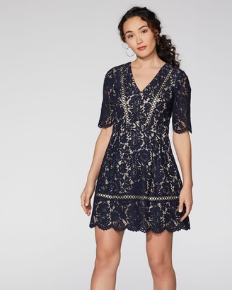 Vince Camuto Lace Elbow-Sleeve Dress