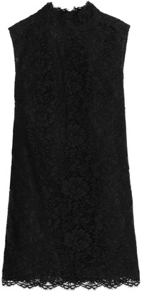 Valentino Bow-embellished Cotton-blend Corded Lace Mini Dress