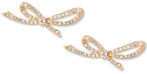 Charter Club Gold-Tone Crystal Pave Bow Earrings, Created for Macy's