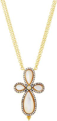 Freida Rothman Long Pave Crystal Clover Pendant Necklace