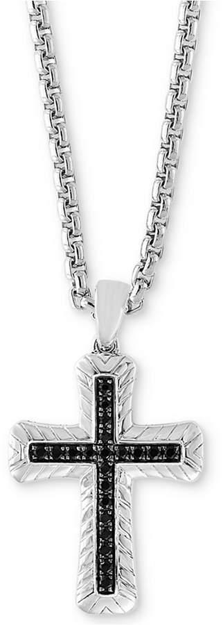 "Effy Men's Black Sapphire Cross 22"" Pendant Necklace (7/8 ct. t.w.) in Sterling Silver"