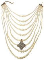 """Heidi Daus Grande Dame"""" 9-Row Simulated Pearl Necklace and Crystal Enhancer Pendant"""