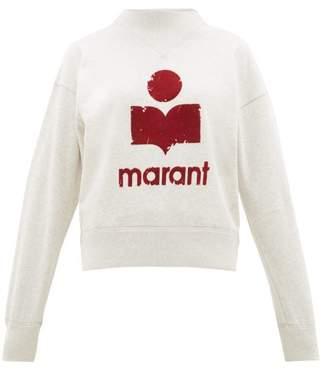 Etoile Isabel Marant Moby Flocked-logo Cotton-blend Sweatshirt - Womens - Light Grey