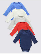 Marks and Spencer 5 Pack Plain Colour Pure Cotton Bodysuits