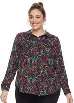 Dana Buchman Plus Size Nailhead Button-Down Camp Shirt