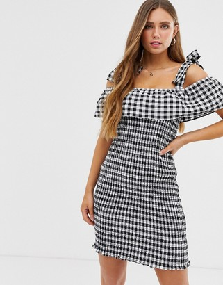 Glamorous shirred bodycon dress with tie shoulders in gingham-Multi