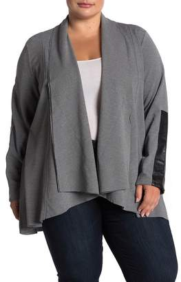 Joan Vass Shawl Collar Faux Leather Trim Jacket (Plus Size)