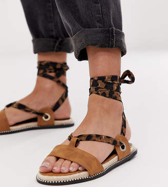 Miss Selfridge flat sandals with leopard ankle ties in tan-Multi