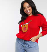 Brave Soul Plus sequin applique christmas sweater
