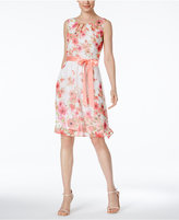 Connected Petite Sleeveless Floral-Print Fit & Flare Dress
