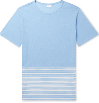 Onia Chad Colour-Block Striped Linen-Blend T-Shirt