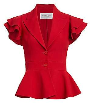 Michael Kors Women's Ruffle-Sleeve Peplum Jacket