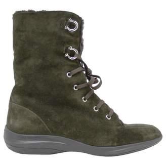 Salvatore Ferragamo \N Khaki Suede Boots