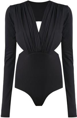 AMIR SLAMA Long Sleeved Bodysuit With Cut Details