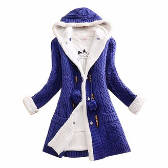 CUTUDU Hooded Cardigan Coat Womens Horn Button Knit Pullover Faux Fur Ladies Long Sleeve Cashmere Thick Warm Sweater Jacke with Pockets (Gray M)