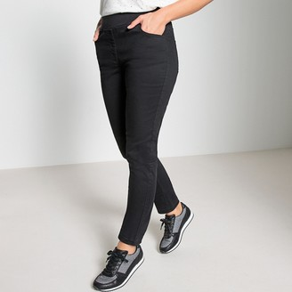 Anne Weyburn Straight Cut Cotton Trousers with Elasticated Waist, Length 30.5""