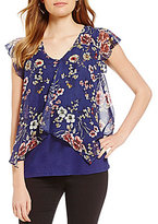 I.N. San Francisco Floral-Print V-Neck Flutter Short-Sleeve Sharkbite-Hem Fly Away Top