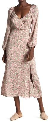ALL IN FAVOR Floral Surplice Slit Midi Dress