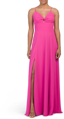 Cambria Spaghetti Strap Faux Tie Up Gown