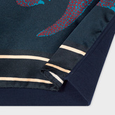Paul Smith Women's Navy Merino Wool Top With 'Dino' Silk Front