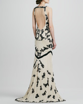 Alice + Olivia Abigail Beaded Open-Back Gown