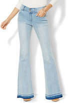 New York & Co. Soho Jeans - Braided High-Waist Flare - Diamond Blue Wash - Released Hem