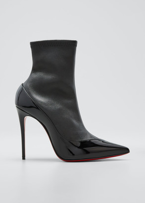 Christian Louboutin Bibooty 100mm Mixed Leather Red Sole Booties